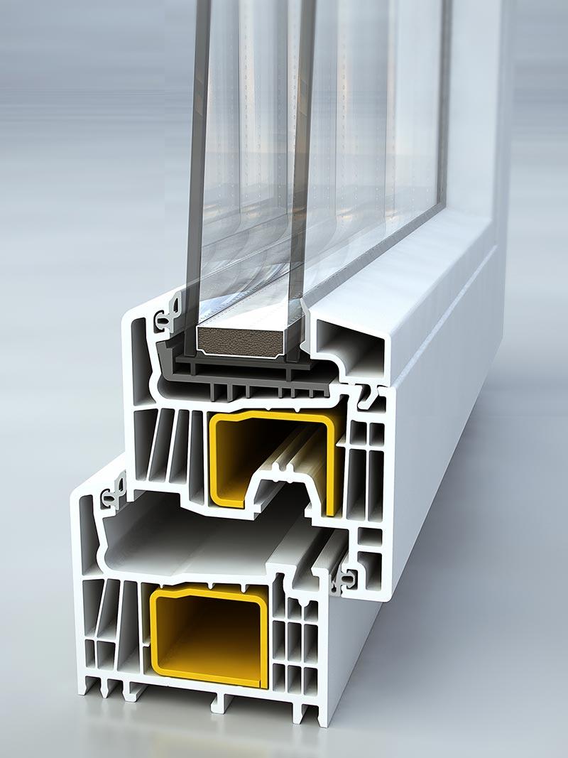 Sezione finestra Domus a battente Linear