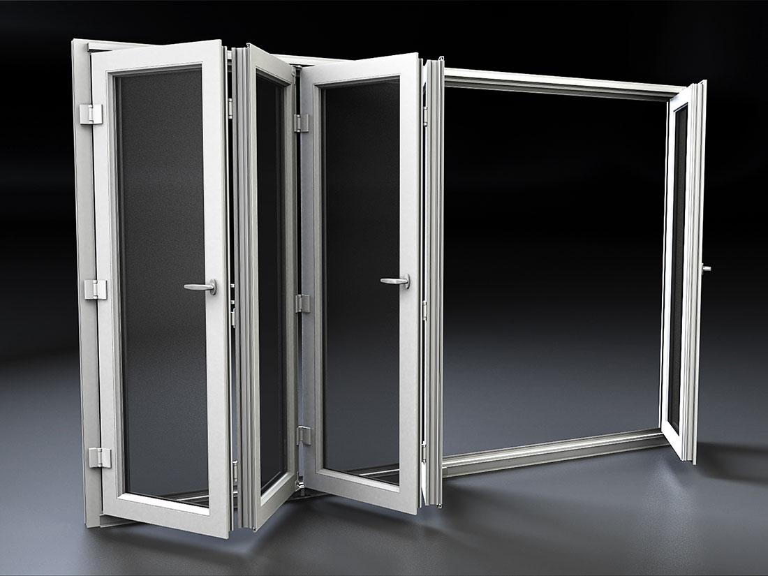 Porta finestra scorrevole a libro in pvc mdb portas nurith for Porta a libro scorrevole